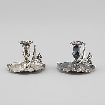 A pair of silver candlesticks by Gustaf Möllenborg, Stockholm, 1856.