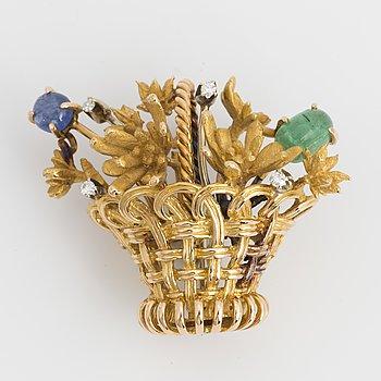 BROSCH, blomsterkorg, 18K guld.
