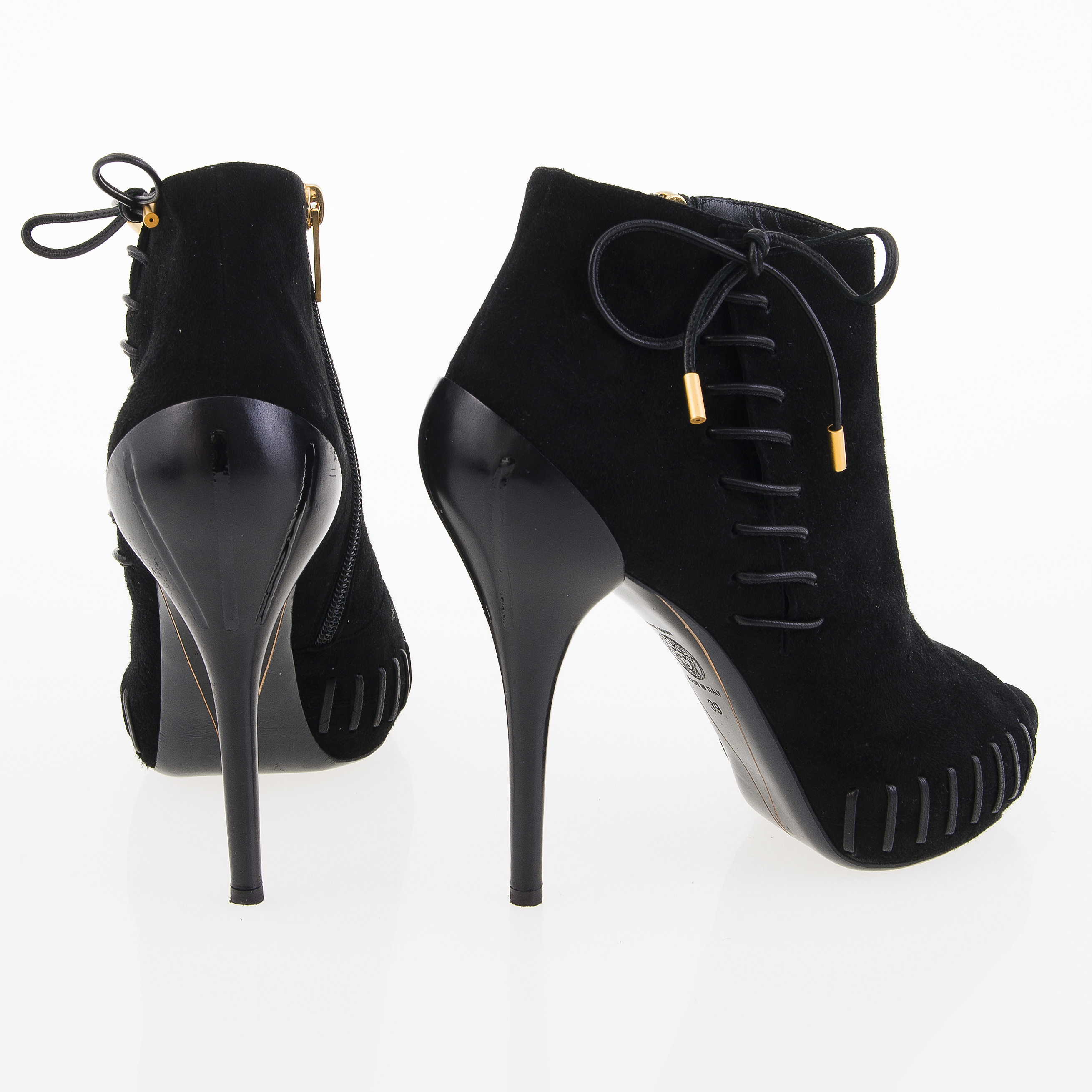 0ec006632c Versace Black Leather Open Toe Ankle Booties in size 39. - Bukowskis