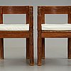 Bröderna eriksson (the eriksson brothers), attributed to, a pair of stained and carved chairs, arvika, art nouveau,