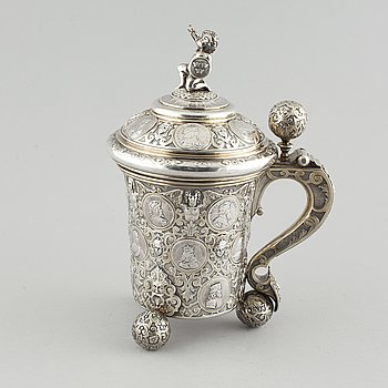 A silver grandeur pitcher by CG Hallberg, 1887, weight in total 2182 gram.