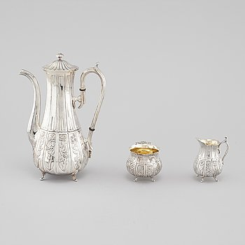 A silver coffee set of three pieces by Karl Ekman for Gewe in 1980.