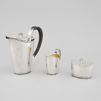 A silver coffee service by Sven-Arne Gillgren for GAB, stockholm in 1965.