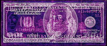 """228. David LaChapelle, """"Negative Currency: Hundred Dollar Bill Used As Negative"""", 1990 - 2008."""