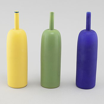 "INGER PERSSON, three porcelain vases for Rörstrand, model ""Pro Arte"", two test models, not signed, and one signed, 1990s."