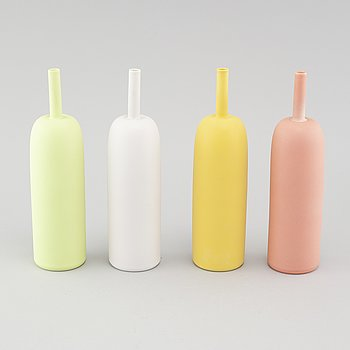 "INGER PERSSON, four porcelain vases from the series ""Pro Arte"", test models, not signed, 1990s."