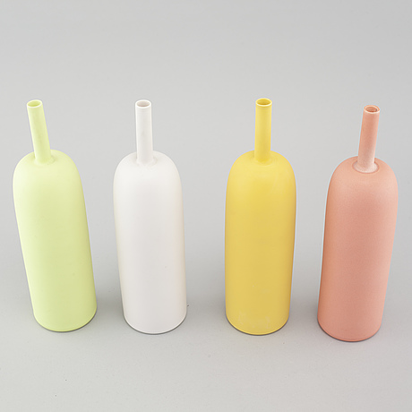 """Inger persson, four porcelain vases from the series """"pro arte"""", test models, not signed, 1990s."""