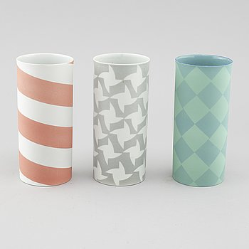 INGER PERSSON, three porcelain vases, not signed, 1990s.