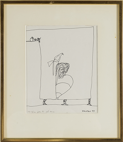 Hans viksten, ink, signed and dated  77