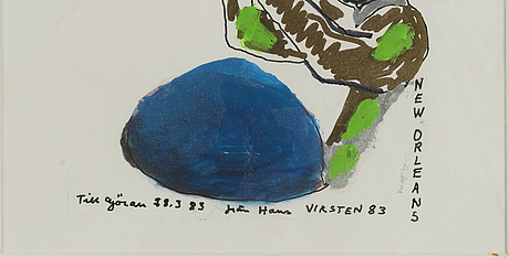 Hans viksten, mixed media, signed and dated -83.
