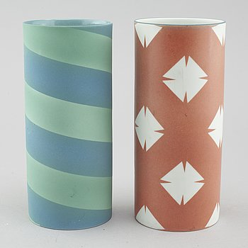 INGER PERSSON, two porcelain vases, one test model not signed, one signed for Rörstrand.