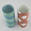 Inger persson, two porcelain vases, one test model not signed, one signed for rörstrand