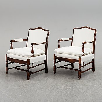 ARMCHAIRS, a pair, possibly NK, second half of the 20th century.