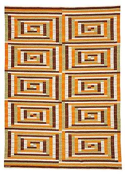 "229. Barbro Nilsson, A CARPET, ""Ostia orange"", flat weave, ca 339,5 x 245 cm, signed AB MMF BN."
