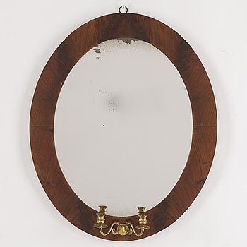 A 19th century mahogany mirror.