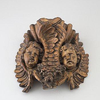DEKORELEMENT, skuret trä, 1700-tal.