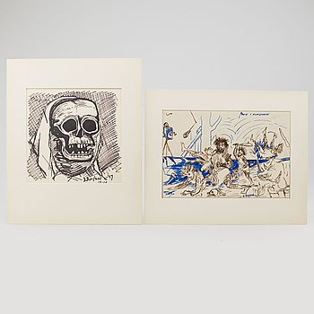LARS ENGLUND, Ink drawings, 2, signed. One dated -47.