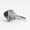 Ring, 18k white gold with sapphires approx 6.60 cts + diamonds 1.45 cts.