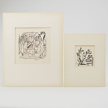 LARS ENGLUND, Ink drawings, signed and dated -49.