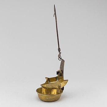 OLJELAMPA, mässing och smide, 1700-tal.
