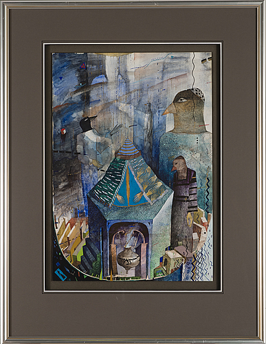 Julia goljand, mixed media, signed and dated -92.