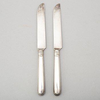 FRUKTKNIVAR, 12 stycken, silver, Ryssland, stämplade AT.1900-tal.