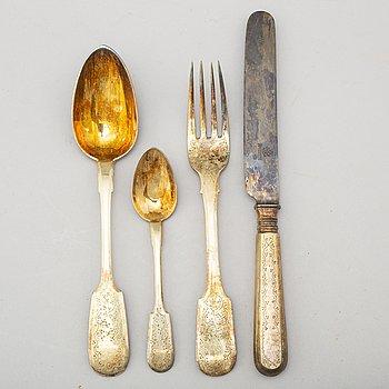 BESTICK, silver, 4 st, förgyllda, Ryssland, 1870-tal.