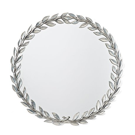 Estrid ericson, a pewter framed mirror, svenskt tenn, sweden, probably 1940's.