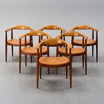 "HANS J WEGNER,  a set of 6 ""The Chair"",  Johannes Hansen, Danmark."