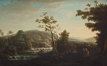 519. Jacob van Ruisdael Circle of, Landscape with ruins, a shepard and shepherdesses.