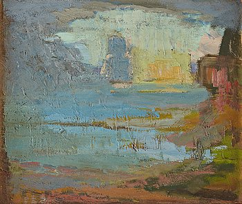 405. Carl Kylberg, Shore with ship.