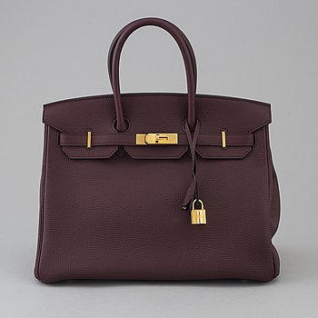 A Birkin 35 by Hermès Bordeaux, 2017.