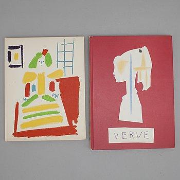 """PABLO PICASSO, böcker 2 st, """"SUITE DE 180 DESSINS DE PICASSO"""". VERVE, VOL VIII, NO 29-30 samt  """"Les Ménines et la vie""""."""