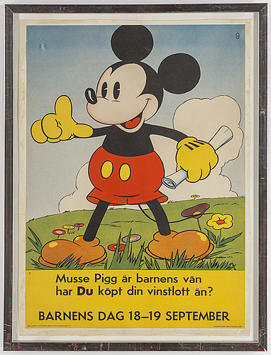 A lithographic walt disney mickey mous poster, centraltryckeriet, esselte, stockholm, 1937.
