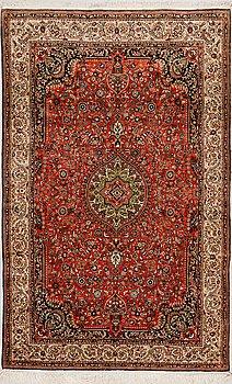 A RUG, oriental silk, around.