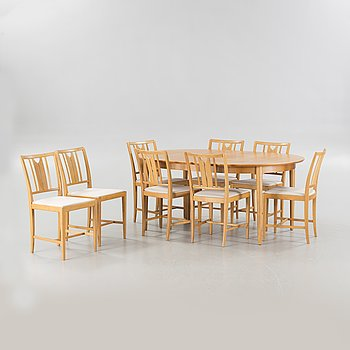 A dinner table set of 9 pieces, partially by Carl Malmsten for Bodafors from the second half of the 20th century.