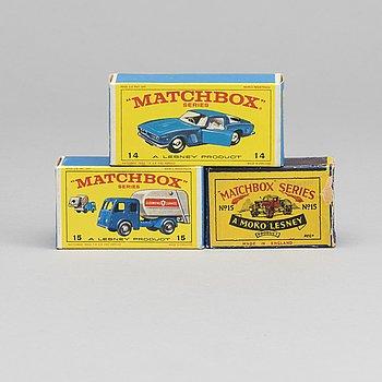 THREE LESNEY MATCHBOX SERIES CARS.