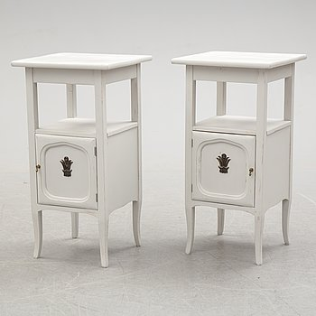 A pair of circa 1900 bedside tables.