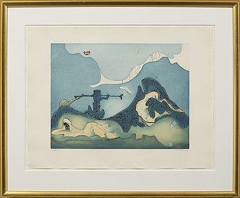 "PORTFOLIO ""BONJOUR MAX ERNST"", 4 graphic prints by Roland Penrose, Dorothea Tanning, André Francois, Jean Messagier."