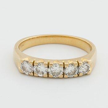 RING 18K guld m 5 briljanter ca 1ct.