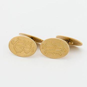 MANSCHETTKNAPPAR 18K guld med graverat monogram, C G Hallberg Stockholm 1920.
