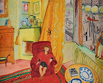 """403. Sigrid Hjertén, """"Iván i fåtöljen"""" (Iván in the armchair)."""