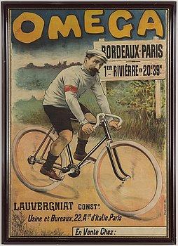 """LITOGRAFISK AFFISCH, """"Omega"""", P. Dupont, Paris, Frankrike, tidigt 1900-tal."""