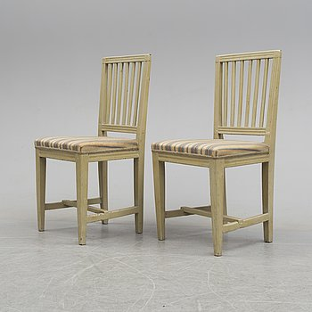 A pair of late Gustavian chairs, early 19th century.