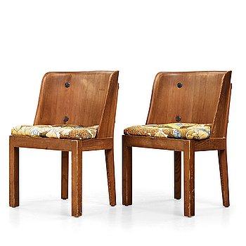 "316. Axel Einar Hjorth, a pair of ""Lovö"" stained pine armchairs, Nordiska Kompaniet, Sweden 1930's."