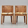 "Axel einar hjorth, a pair of ""lovö"" stained pine armchairs, nordiska kompaniet, sweden 1930's."