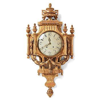 129. A Gustavian late 18th century wall clock.