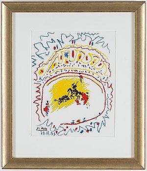 PABLO PICASSO, färglitografi, signerad och daterad 23.11.57 i trycket, ur XX:e siècle no 10 1958.