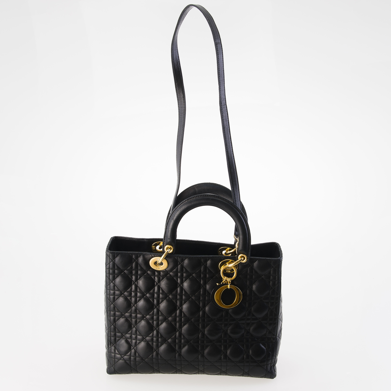 bd059b20a162 CHRISTIAN DIOR Black Leather Lady Dior BAG. - Bukowskis
