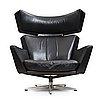 """Arne jacobsen, a black leather and aluminium """"ox-chair"""", denmark 1966."""